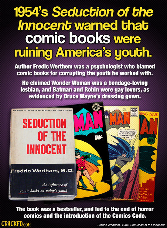 1954's Seduction of the Innocent warned that comic books were ruining America's youth. Author Fredic Werthem was a psychologist who blamed comic books