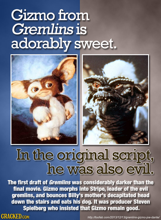 Gizmo from Gremlins is adorably sweet. In the original script, he was also evil. The first draft of Gremlins was considerably darker than the final mo