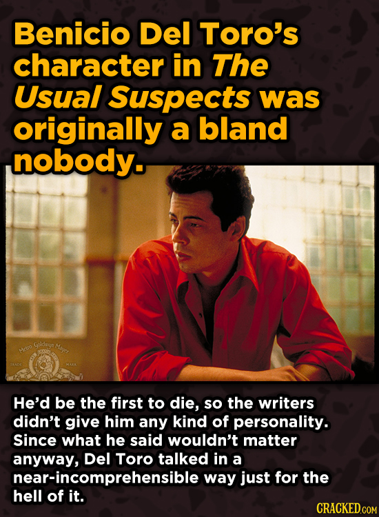 Movie Scenes That Were Supposed To Be Way Different - Benicio Del Toro's character in The Usual Suspect