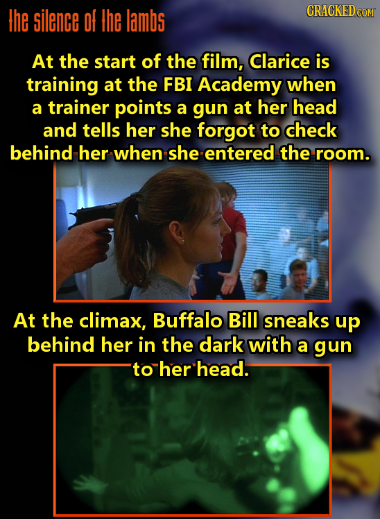 the silence Of the lambs CRACKEDcO At the start of the film, Clarice is training at the FBI Academy when a trainer points a gun at her head and tells