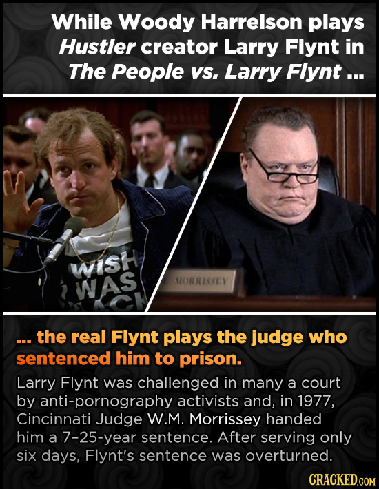 While Woody Harrelson plays Hustler creator Larry Flynt in The People VS. Larry Flynt... wisH WAS MORNISSEY the real Flynt plays the judge who sentenc