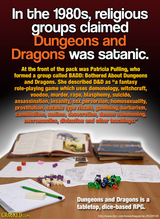 In the 1980s, religious groups claimed Dungeons and Dragons was satanic. At the front of the pack was Patricia Pulling, who formed a group called BADD