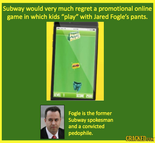 Subway would very much regret a promotional online game in which kids play with Jared Fogle's pants. PANT DAWNE LEVEL 1 SCIRE 200 Fogle is the forme