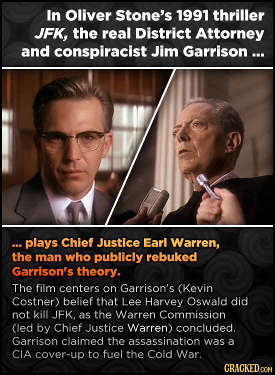 In Oliver Stone's 1991 thriller JFK, the real District Attorney and conspiracist Jim Garrison ... .s. plays Chief Justice Earl Warren, the man who pub