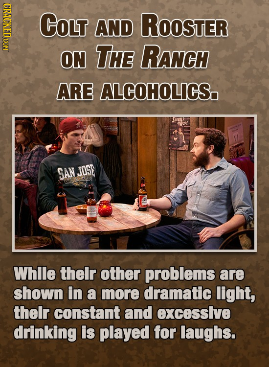 CRACKED COM COLT AND ROOSTER ON THE RANCH ARE ALCOHOLICS. orets Y SAN JOSE While their other problems are shown in a more dramatic light, their consta