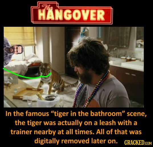 Tlbe HANGOVER In the famous tiger in the bathroom scene, the tiger was actually on a leash with a trainer nearby at all times. All of that was digit