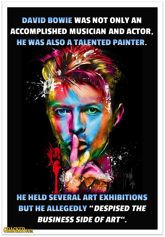 DAVID BOWIE WAS NOT ONLY AN ACCOMPLISHED MUSICIAN AND ACTOR, HE WAS ALSO A TALENTED PAINTER. HE HELD SEVERAL ART EXHIBITIONS BUT HE ALLEGEDLY DESPISE