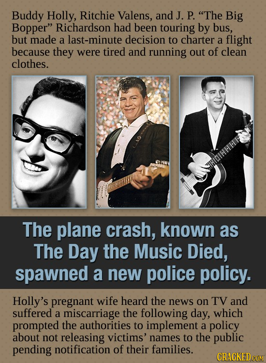 Buddy Holly, Ritchie Valens, and J. P. The Big Bopper Richardson had been touring by bus, but made a last-minute decision to charter a flight becaus