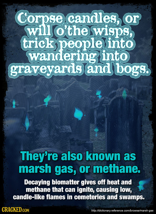 Corpse candles, or will o'the wisps, 0 trick people into wandering into graveyards and bogs They're also known as marsh gas, or methane. Decaying biom