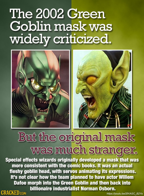 The 2002 Green Goblin mask was widely criticized. But the original mask was much stranger. Special effects wizards originally developed a mask that wa