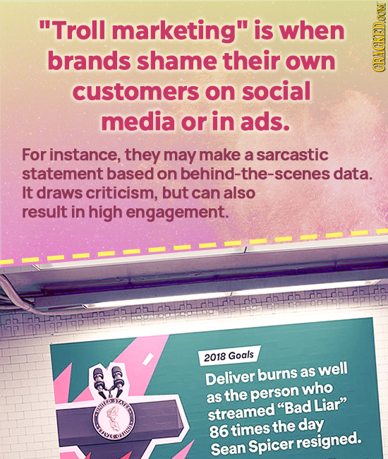 Troll marketing is when brands shame their own customers on social CRAGN media or in ads. For instance, they may make a sarcastic statement based on