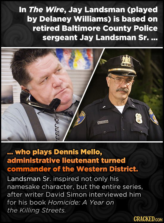In The Wire, Jay Landsman (played by Delaney Williams) is based on retired Baltimore County Police sergeant Jay Landsman Sr. ... ...who plays Dennis M