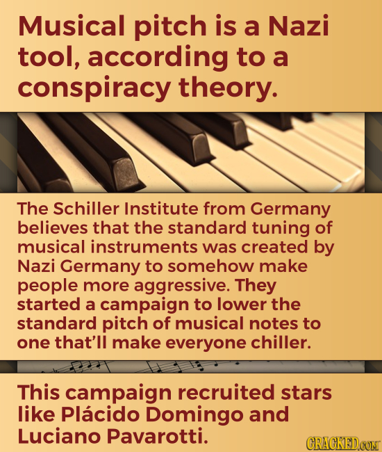 Musical pitch is a Nazi tool, according to a conspiracy theory. The Schiller Institute from Germany believes that the standard tuning of musical instr