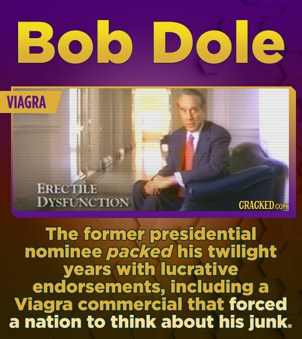 Bob Dole VIAGRA ERECTILE DYSFUNCTION CRACKED CO The former presidential nominee packed his twilight years with lucrative endorsements, including a Via