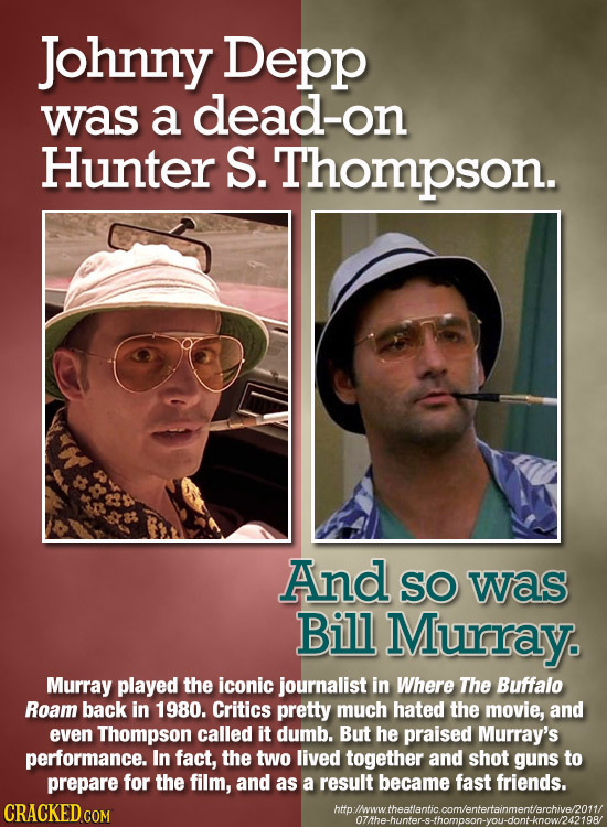 Johnny Depp was a dead-on Hunter S. Thompson. And SO was Bill Murray Murray played the iconic journalist in Where The Buffalo Roam back in 1980. Criti