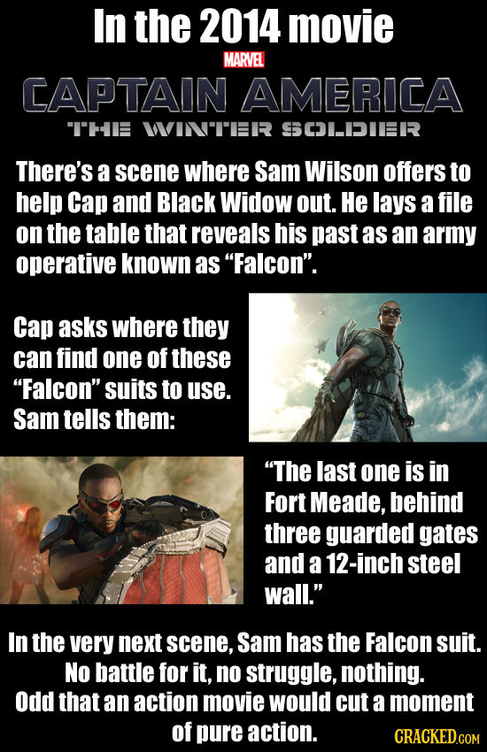 In the 2014 movie MARVEL CAPTAIN AMERICA THE WVIN'TRR SCLIDIEERR There's a scene where Sam Wilson offers to help Cap and Black Widow out. He lays a f