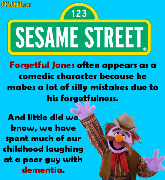 123 SESAME STREET Forgetful Jones often appears as a comedic character because he makes a lot of silly mistakes due to his forgetfulness. And little d