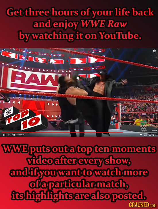Get three hours of your life back and enjoy WWE Raw by watching it on YouTube. RAW W TOP 417/52 0006 WWE puts out a top ten moments videoaftereverysho