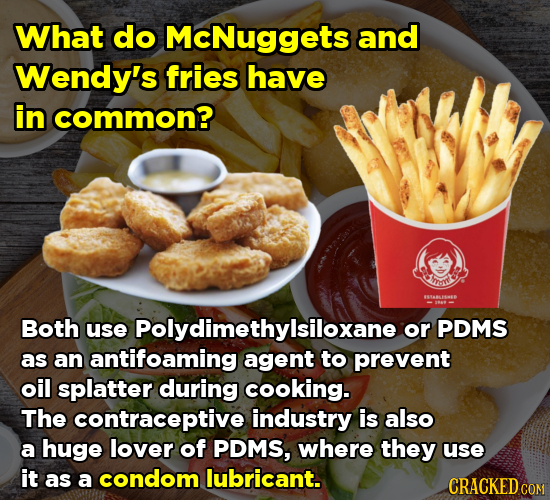What do McNuggets and Wendy's fries have in common? Imt Both use Polydimethylsiloxane or PDMS as an antifoaming agent to prevent oil splatter during c