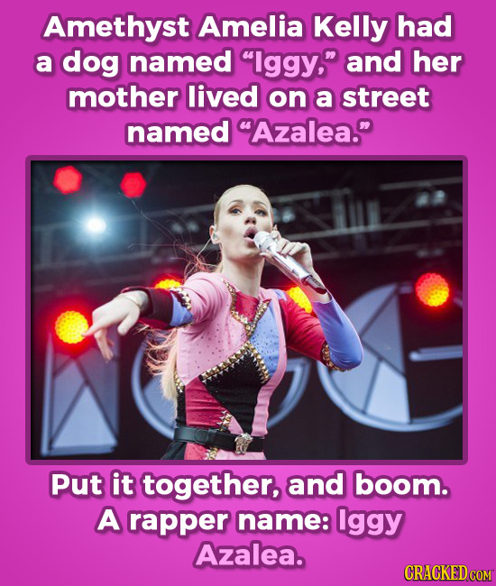 Amethyst Amelia Kelly had a dog named lggy, and her mother lived on a street named Azalea. Put it together, and boom. A rapper name: lggy Azalea.