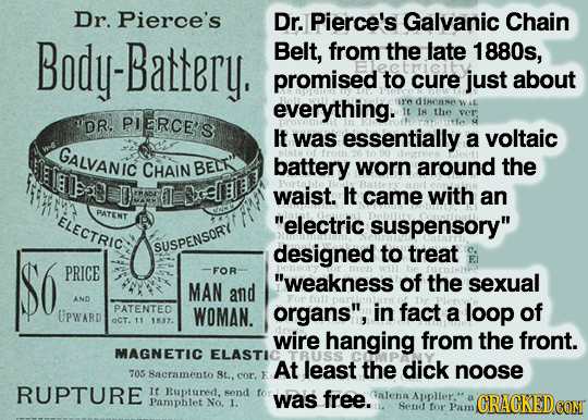 Dr. Pierce's Dr. Pierce's Galvanic Chain Body-Battery. Belt, from the late 1880s, promised to cure just about everything. ir' dinease W iL PIERCE'S It
