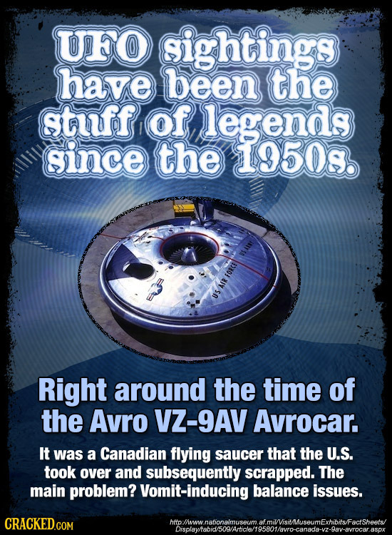 UFO ightings have been the stuff of legends gince the 19508. USAINY FORCE AIR US Right around the TiME of the Avro VZ-9AV Avrocar. It was a Canadian f