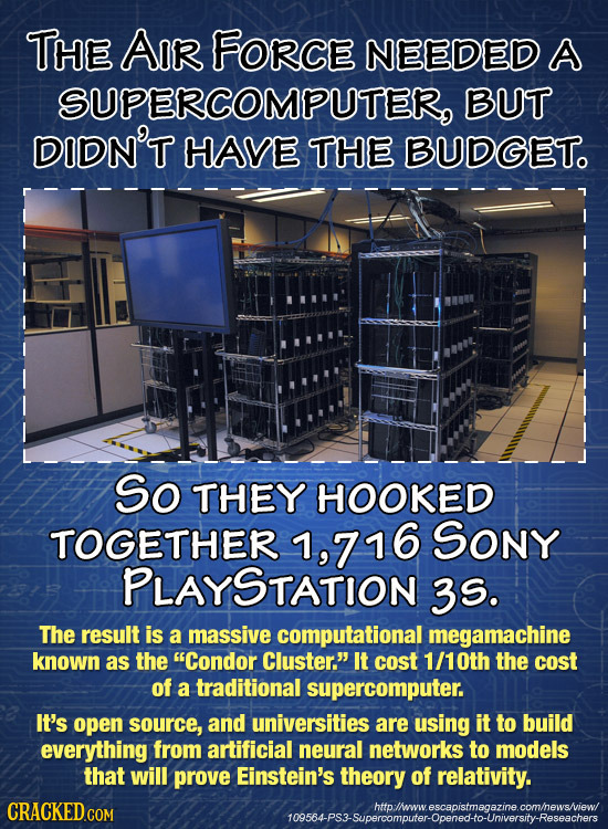 THE AIR FOrcE NEEDED A SUPERCOMPUTER, BUT DIDN'T HAVE THE BUDGET. So THEY HOOKED TOGETHER ,716 Sony PLAYSTATION 3S. The result is a massive computatio