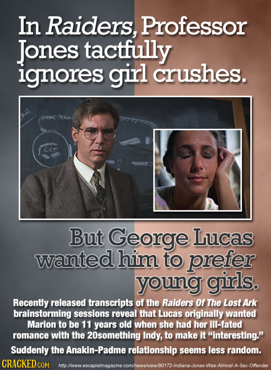 In Raiders, Professor Jones tactfully ignores girl crushes. TAE But George Lucas wanted him to prefer young girls. Recently released transcripts of th