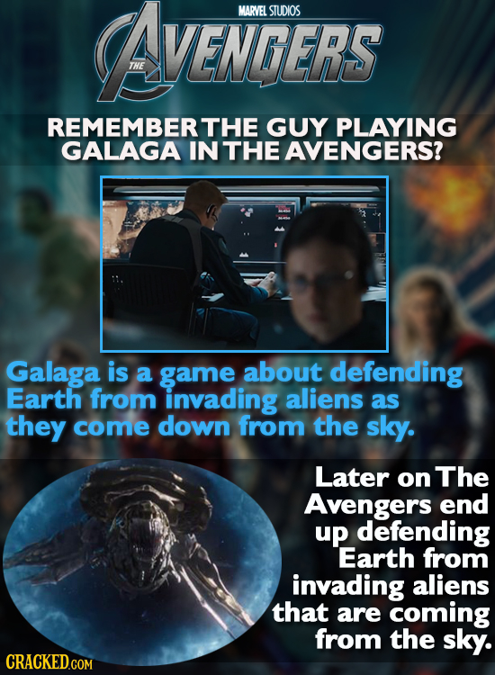 AVENGERS MARVEL STUDIOS VENGERS REMEMBER THE GUY PLAYING GALAGA IN THE AVENGERS? Galaga is a game about defending Earth from invading aliens as they c