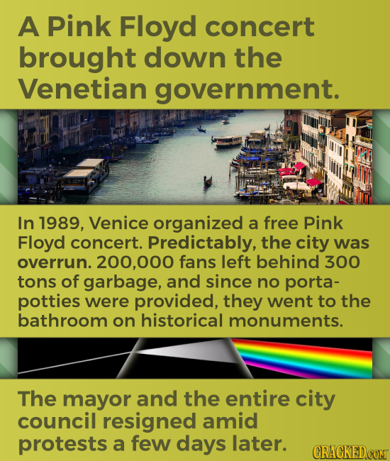 A Pink Floyd concert brought down the Venetian government. In 1989, Venice organized a free Pink Floyd concert. Predictably, the city was overrun. 200