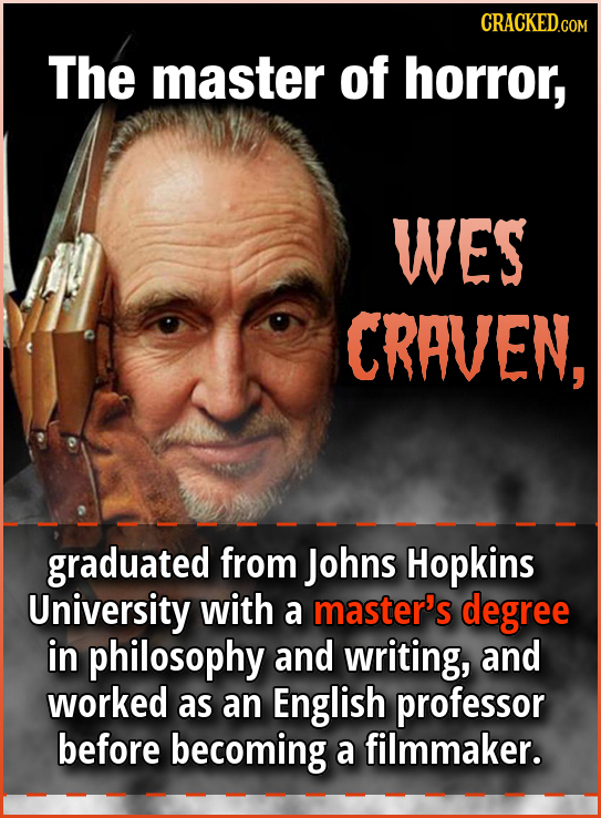 CRACKED.COM The master of horror, WES CRAVEN, graduated from Johns Hopkins University with a master's degree in philosophy and writing, and worked as