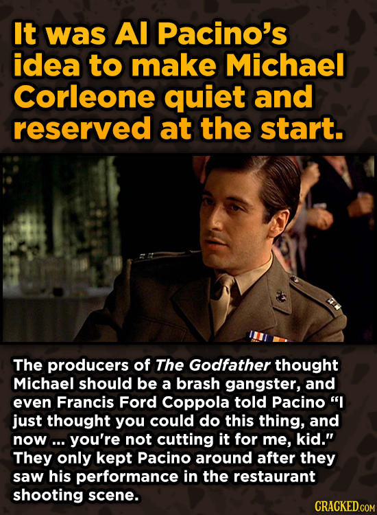 Movie Scenes That Were Supposed To Be Way Different - It was Al Pacino's idea to make Michael Corleone quiet and reserved at