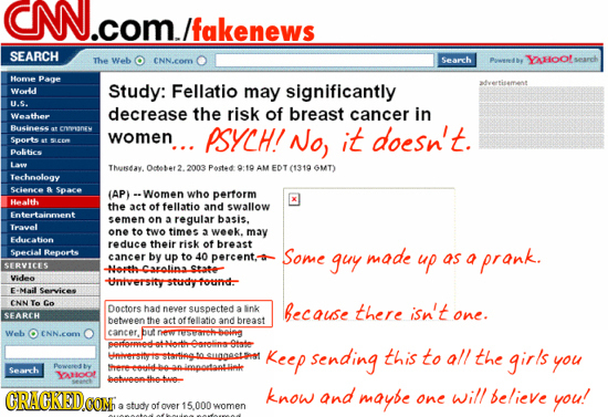 CN.COM./fakenews n/fakenews SEARCH The Web CNN.eOm Search Pawwerlby YAHoofs Home Page Worded Study: Fellatio significantly advertisement may U.G. decr