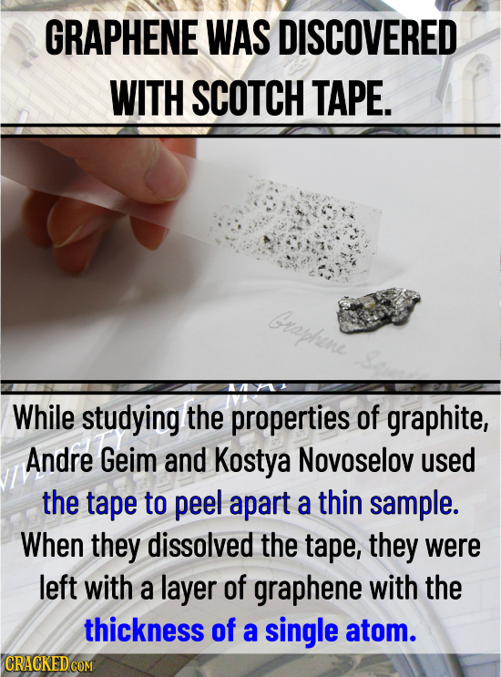 GRAPHENE WAS DISCOVERED WITH SCOTCH TAPE. Graphene While studying the properties of graphite, Andre Geim and Kostya Novoselov used the tape to peel ap