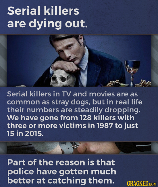 Serial killers are dying out. Serial killers in TV and movies are as common as stray dogs, but in real life their numbers are steadily dropping. We ha