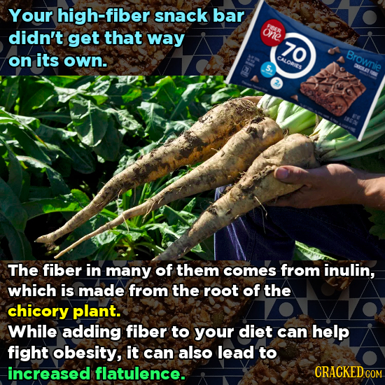 Your high-fiber snack bar FER didn't get that one way 70 Brownie on its own. CALORIES The fiber in many of them comes from inulin, which is made from