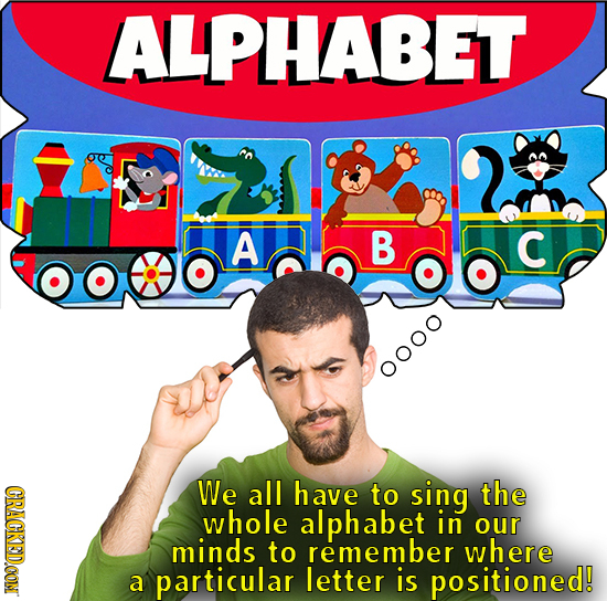 ALPHABET A B C o000 CRACKEDOON We all have to sing the whole alphabet in our minds to remember where a particular letter is positioned!