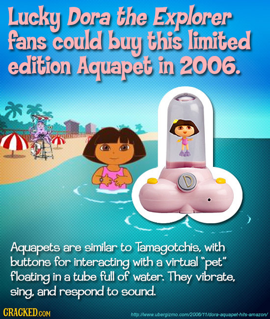 Lucky Dora the Explorer fans could buy this limited edition Aquapet in 2006. Aquapets are similar to Tamagotchis, with buttons for interacting with a