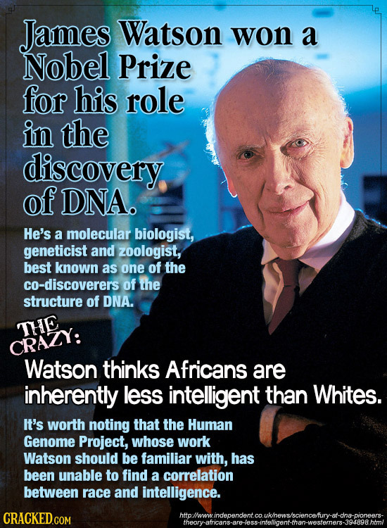 James Watson won a Nobel Prize for his role in the discovery of DNA. He's a molecular biologist, geneticist and zoologist, best known as one of the co