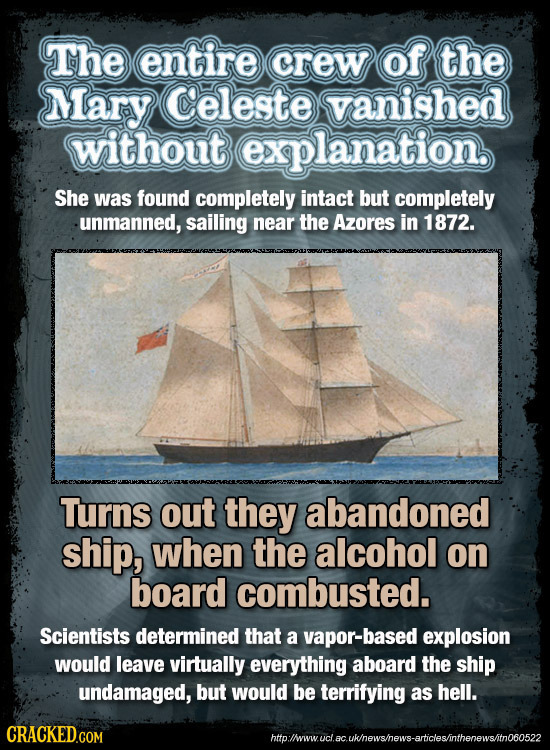 The entire crew of the Mary Celeste vanished without explanation, She was found completely intact but completely unmanned, sailing near the Azores in
