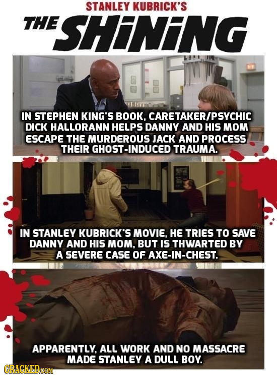 STANLEY KUBRICK'S THE ESHINING IN STEPHEN KING'S BOOK, CARETAKERIPSYCHIC DICK HALLORANN HELPS DANNY AND HIS MOM ESCAPE THE MURDEROUS JACK AND PROCESS