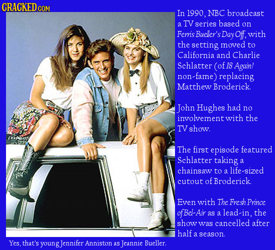 CRACKEDCO COM In 1990, NBC broadcast a TV series based on Femis Bueler's Day Off, with the setting moved to California and Charlie Schlatter (of 18 Ag