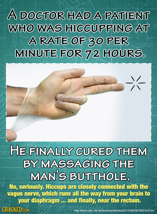 A DOCTOR HAD A PATIENT WHO WAS HICCUPPING AT A RATE OF 30 PER MINUTE FOR 72 HOURS. HE FINALLY CURED THEM BY MASSAGING THE MAN'S BUTTHOLE. No, seriousl