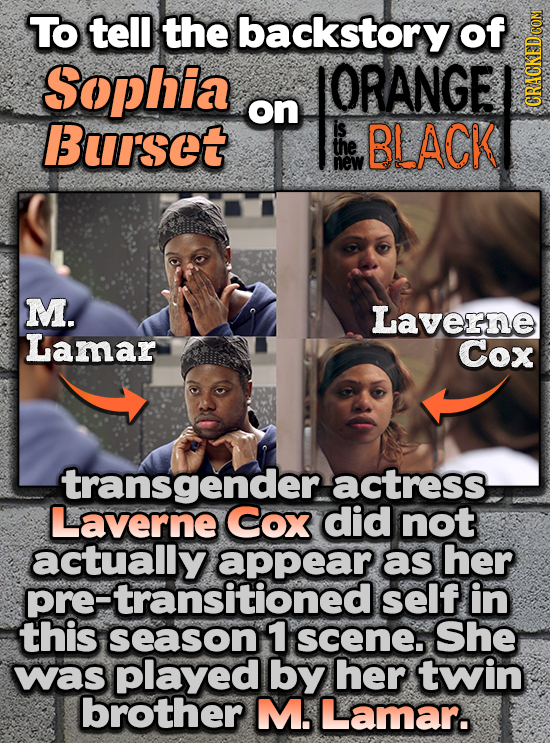 To tell the backstory of Sophia ORANGE on Bursot is BLACK GRAH the new M. Laverne Lamar Cox transgender actress Laverne Cox did not as her pre-transir