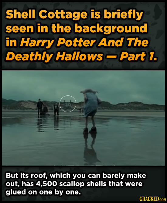 Shell Cottage is briefly seen in the background in Harry Potter And The Deathly Hallows Part 1. AR But its roof, which you can barely make out, has 4,