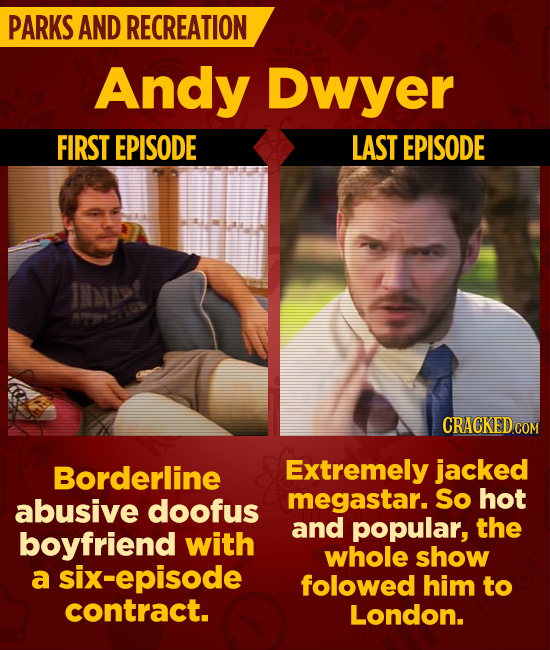 PARKS AND RECREATION Andy Dwyer FIRST EPISODE LAST EPISODE IA>t Mts CRACKED COM Borderline Extremely jacked megastar. So hot abusive doofus and popula