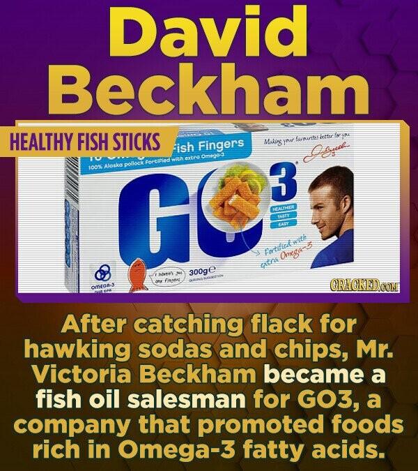 David Beckham HEALTHY FISH STICKS frunte chetter fw ish Fingers yo yid Omegas GE with extns pollock forcinlod 1002 Aloska 3 HETHE ASY etwith Omega xta