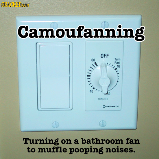 Camoufanning OFF 60 Turn Past 10 40 80 MINUTES TYERMATIC Turning on a bathroom fan to muffle pooping noises.