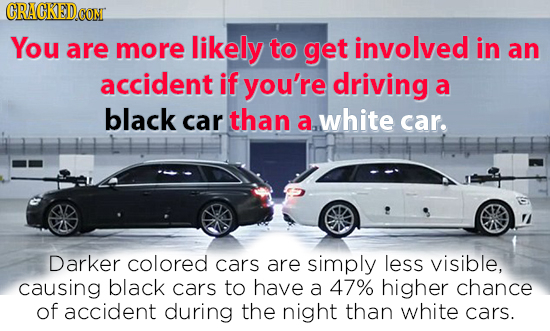 CRACKEDCON You are more likely to get involved in an accident if you're driving a black car than a white car. Darker colored cars are simply less visi