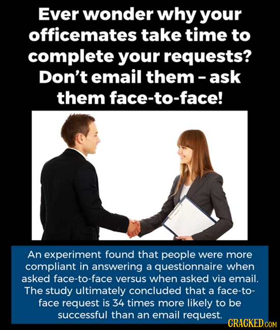 Ever wonder why your officemates take time to complete your requests? Don't email them-ask them face-to-face! An experiment found that people were mor